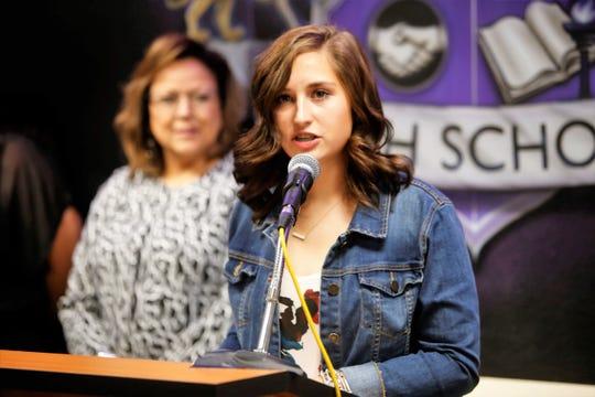 San Juan College High School third-year student Emma Cillessen speaks while Gov. Susanna Martinez listens during a presentation at the high school on Thursday in Farmington.