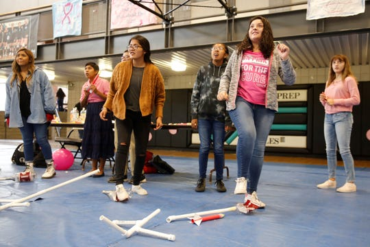Students watch a paper rocket launch during an activity at the STEM Exploration Day on Thursday at Navajo Preparatory School in Farmington.