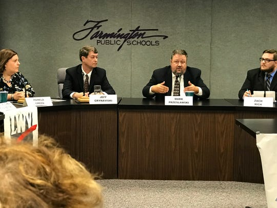 Farmington school board candidates (from left) Pamela Green, Jeff Grynaviski, Mark Przeslawski and Zach Rich answered a variety of questions at Tuesday's candidate forum.