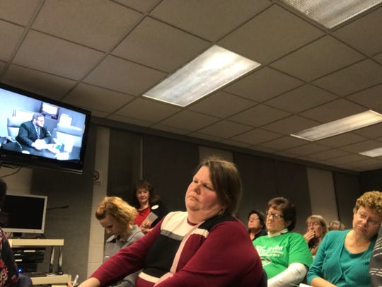 Voters crammed into the Farmington Public Schools board room for Tuesday's forum.