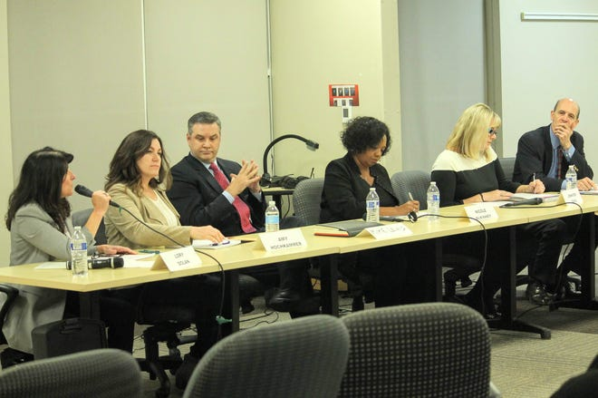 Six of the seven candidates running for the Birmingham Public Schools board of education.