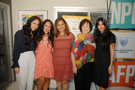 (left to right) Nominees in the OUTSTANDING FUNDRAISING VOLUNTEER CATEGORY are Bita Kamoei and Bahareh Kamoei, their Mom Massey Kamoei, National Philanthropy Day In The Desert Event Chair Gailya Brown, and Nominee Sara Kamoei