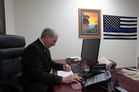 Republican Senator Jeff Stone, Pharm.D. Twenty-Eighth Senate District of the California Legislature at his office in Indio on Thursday, October 25, 2018.