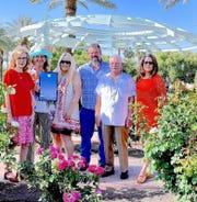 Linda Simmons, Peggy Bakke, Pamela Nelson, Rick Bennett, Hal Reynolds and Linda Ingersol at the Palm Desert Memorial Rose Garden.
