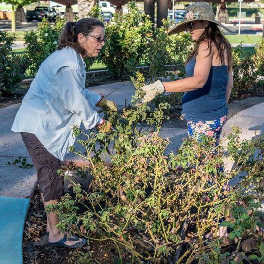 Rosarian Linda Ingersoll and member Christine Juarez.