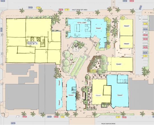 An overhead map shows the proposed new configuration of the ground floor of The Center in downtown Palm Springs.