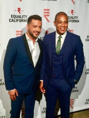 Emcee Jai Rodriguez and Equality Visibility Award Honoree Don Lemon