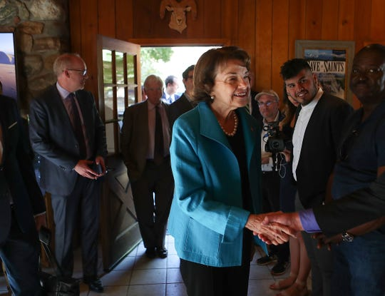 Sen. Dianne Feinstein meets people at the Whitewater Preserve where she spoke about protecting the desert, October 25, 2018.