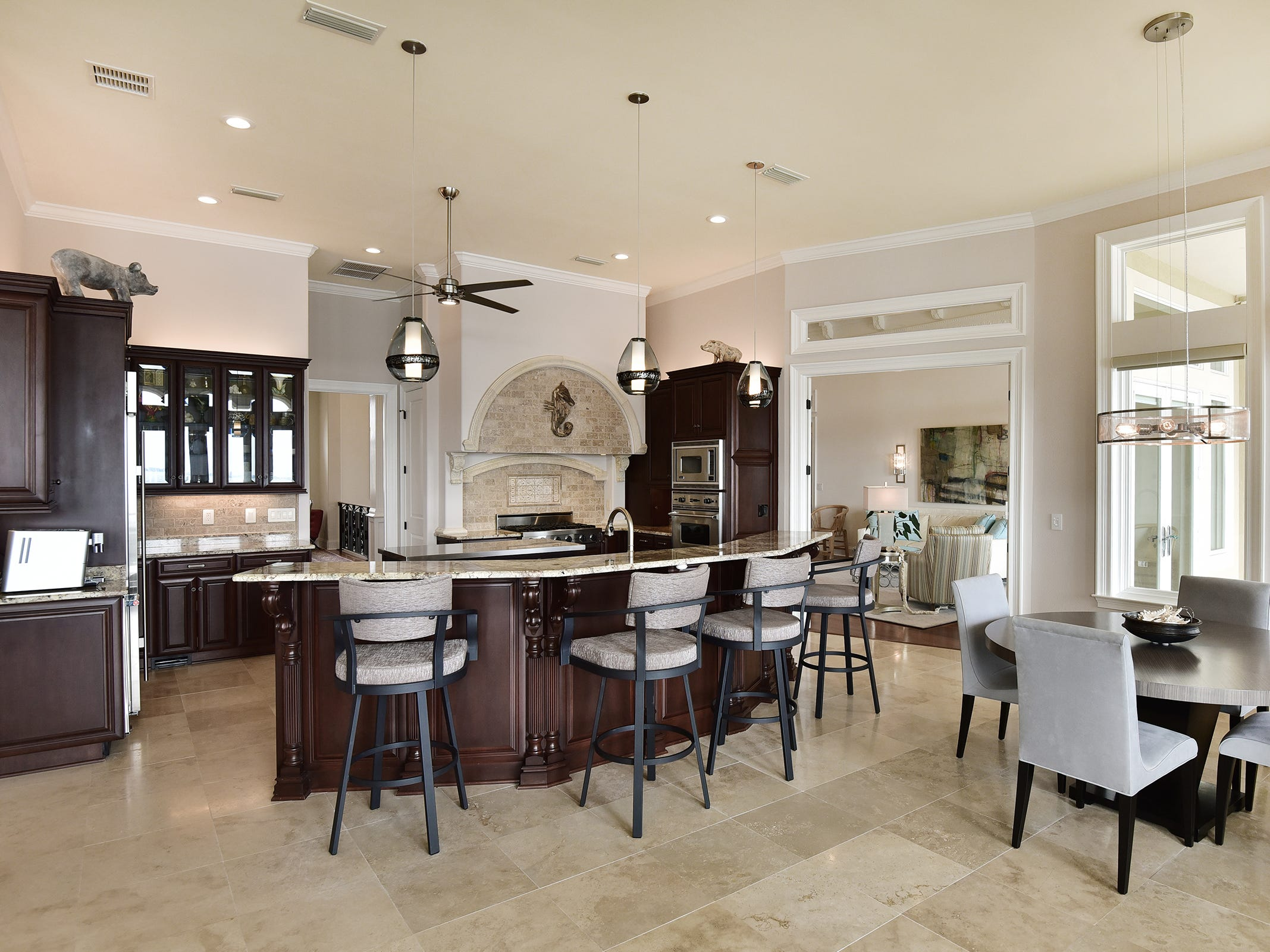 5 Colley CoveThe open, gourmet kitchen and casual dining space.