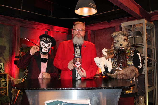 """The cast of """"Nightmare Theatre"""" includes, from left, Chip Chism as El Sapo de Tempesto, Mike Ensley as Baron Mondo Von Doren, and Lemmie Crews as Mittens the Werewolf."""