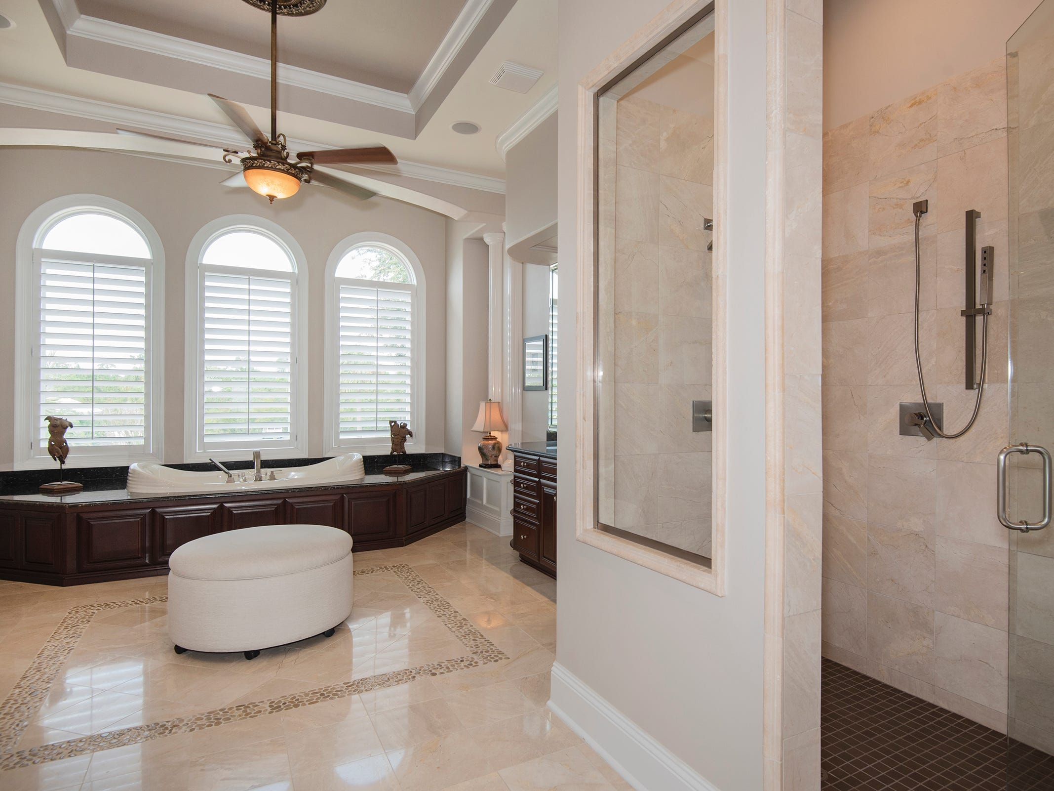 5 Colley CoveA walk-in shower and relaxing tub are found in the master bath.