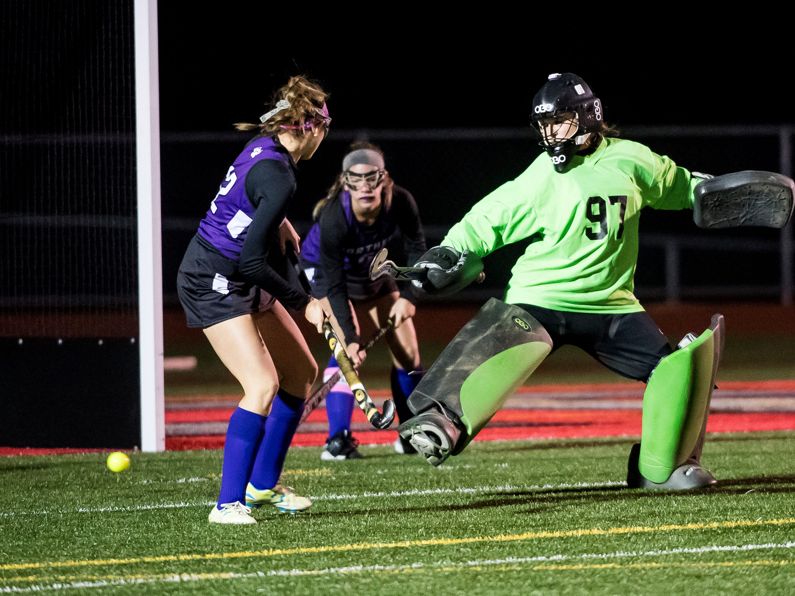 A shot from South Western rolls past Northern goal keeper Kasey Davis during a PIAA District III first round game at Bermudian Springs High School on Wednesday, October 24, 2018. The Mustangs fell 4-2.