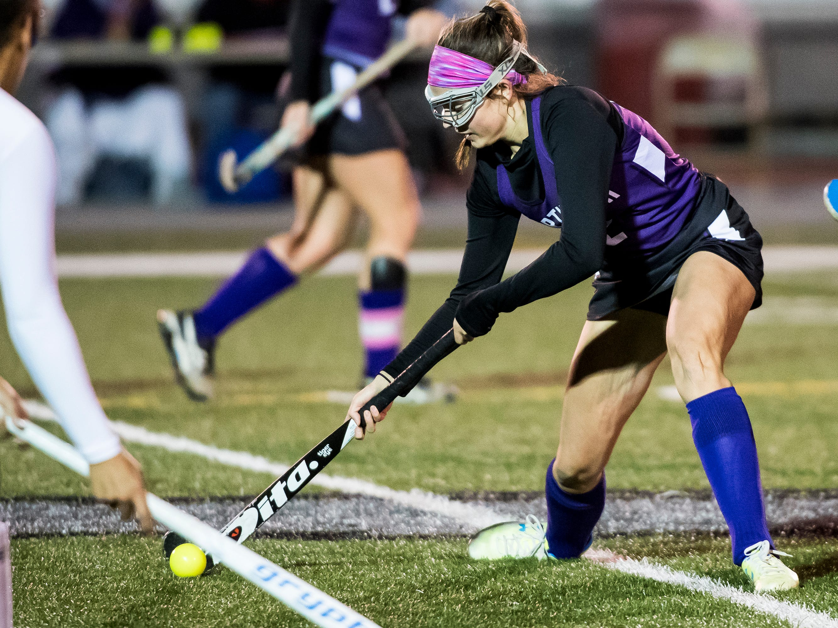 Northern's Alexandra McCurdy hits the ball during play against South Western in a PIAA District III first round game at Bermudian Springs High School on Wednesday, October 24, 2018. The Mustangs fell 4-2.