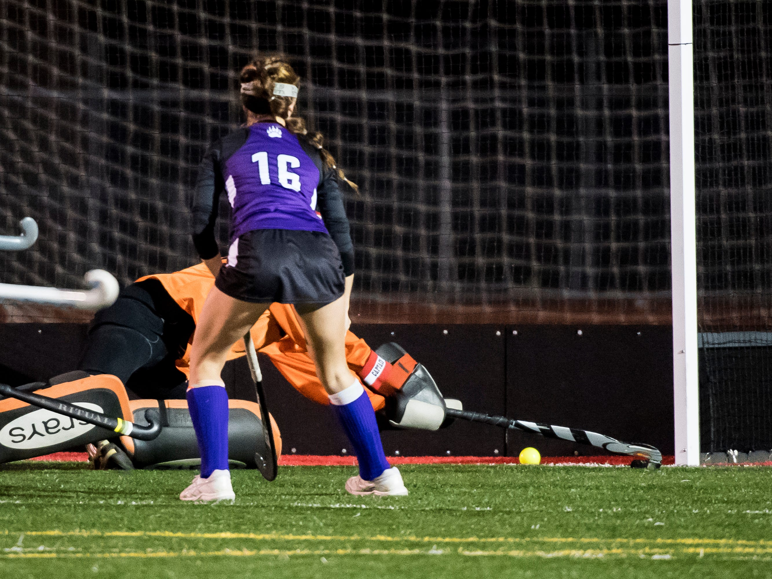 A shot from Northern gets past South Western goal keeper Aunnie Hacker during a PIAA District III first round game at Bermudian Springs High School on Wednesday, October 24, 2018. The Mustangs fell 4-2.