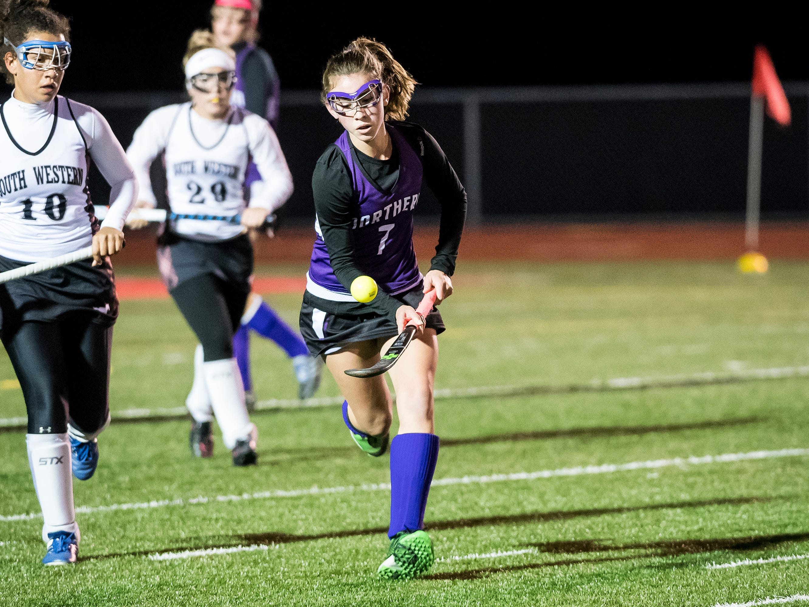 Northern's Kelsey Heltzel air dribbles during play against South Western in a PIAA District III first round game at Bermudian Springs High School on Wednesday, October 24, 2018. The Mustangs fell 4-2.