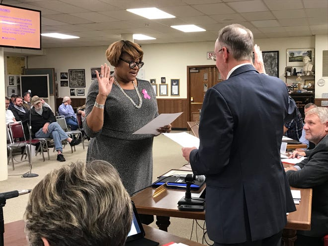Myneca Ojo is sworn in as Hanover's mayor at the borough council meeting on Oct. 24. The terms of the mayor and five borough council members expire this year.