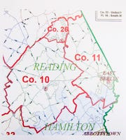 A map of Reading Township's current service areas for Hampton Fire Company No. 10, Liberty Fire Company No. 11 and Lake Meade Fire and Rescue Company No. 26.