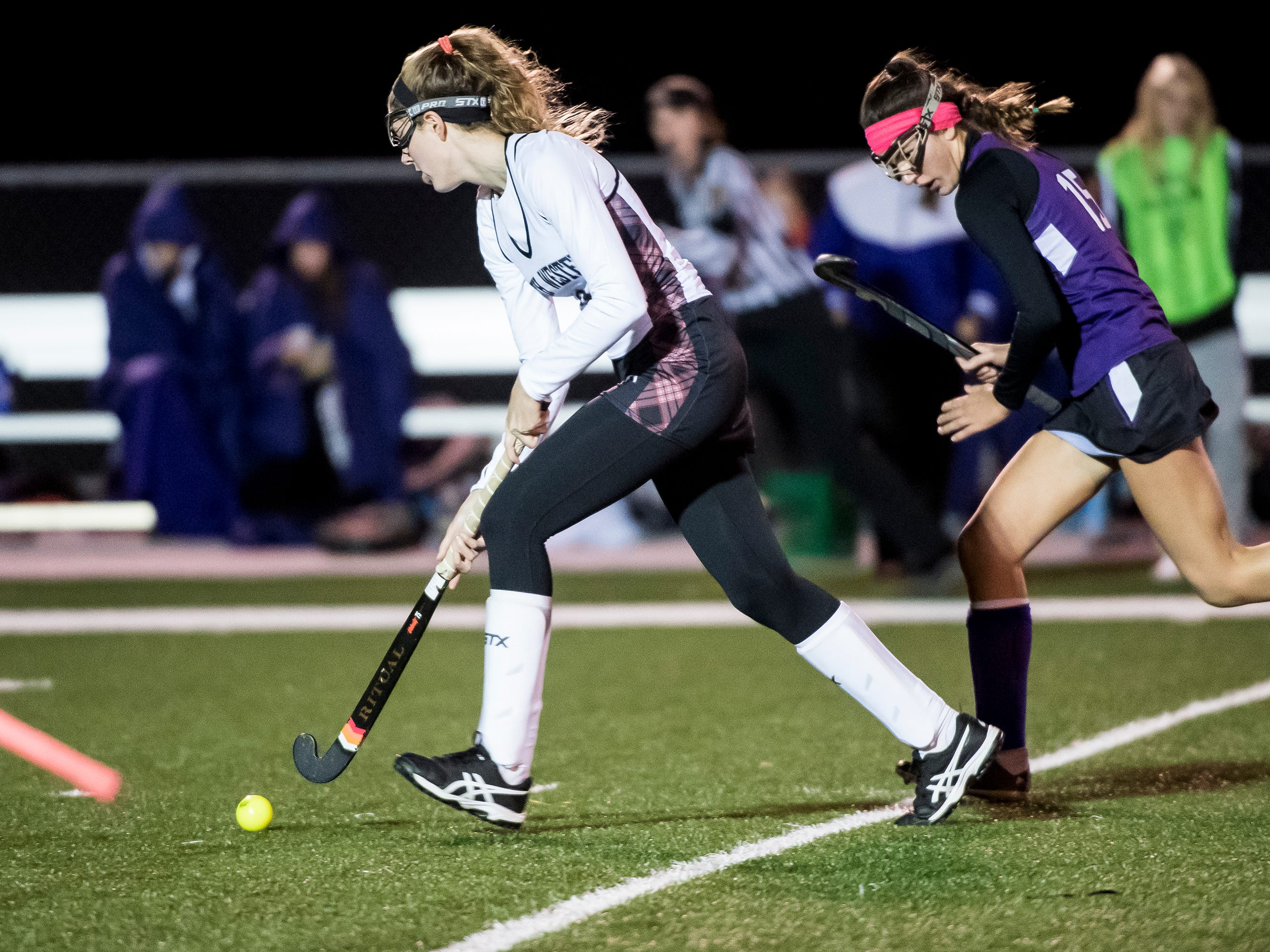 Action between South Western and Northern York during a PIAA District III first round game at Bermudian Springs High School on Wednesday, October 24, 2018. The Mustangs fell 4-2.