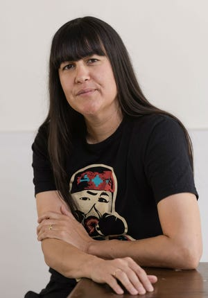 Natalie Diaz in her studio in Phoenix.