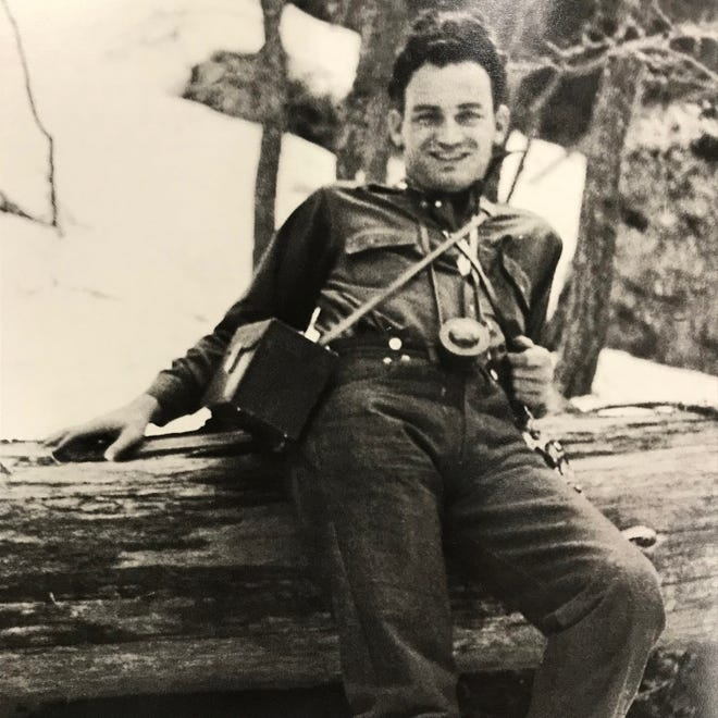 Barry Goldwater with camera gear on Mount Lemmon near Tucson in the early 1930s.