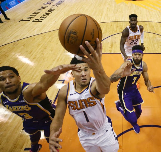 Devin Booker had 23 points with seven assists and seven rebounds in the Suns' 131-113 loss to the Lakers at Talking Stick Resort Arena.