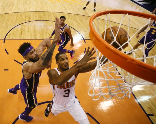 Phoenix Suns' Trevor Ariza looks to the basket against the Los Angeles Lakers during a game on Oct. 24 at Talking Stick Resort Arena.