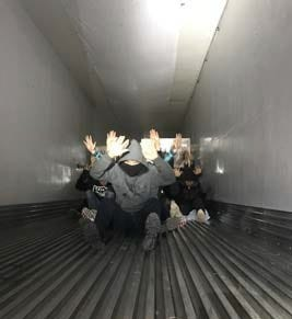 Border Patrol agents found 18 undocumented migrants hiding in the back of a refrigerated semitruck at a checkpoint along I-19 north of Nogales on Monday.