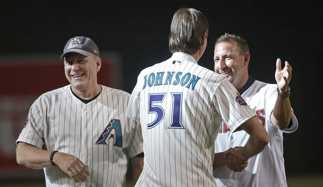 Curt Schilling, Randy Johnson and Brandon Webb joined other former Diamondbacks players for the Diamondbacks 20th Anniversary team prior to a Diamondbacks game at Chase Field in Phoenix, Ariz. on Aug. 4, 2018.