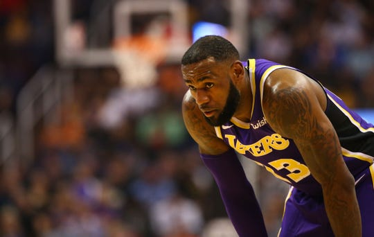 Los Angeles Lakers' LeBron James in the first half during a game on Oct. 24 at Talking Stick Resort Arena.