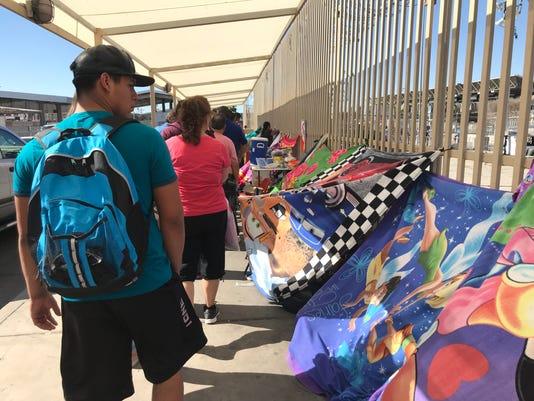 Migrant families at San Luis border crossing