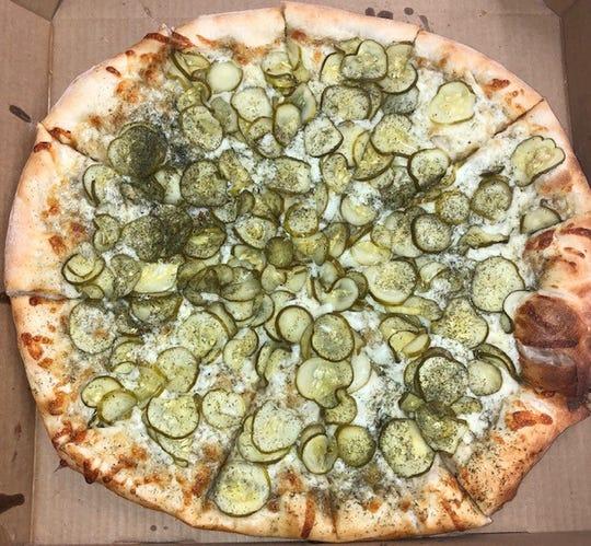 Rhino's Pizzeria'S Big Dill Pizza in New York.