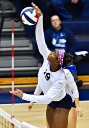 West York's Tesia Thomas spikes the ball during York-Adams League girls' volleyball championship action against Delone Catholic at Dallastown Area High School in York Township, Wednesday, Oct. 24, 2018. West York would win the title game 3-0. Dawn J. Sagert photo