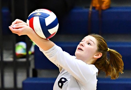 West York's Julia Rill bumps the ball during York-Adams League girls' volleyball championship action against Delone Catholic at Dallastown Area High School in York Township, Wednesday, Oct. 24, 2018. West York would win the title game 3-0. Dawn J. Sagert photo