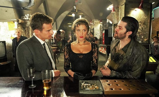 "From left, Billy Bob Thornton, Jim Sturgess, Amber Heard and Theo James star in ""London Fields,"" playing at R/C Hanover Movies."