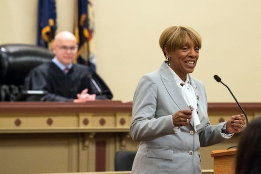 State Rep. Carol Hill-Evans (D-District 95) speaks during a naturalization ceremony at the York County Administration Center, Thursday, Oct. 25, 2018. The 49 new citizens immigrated from 30 different countries. during a naturalization ceremony at the York County Administration Center, Thursday, Oct. 25, 2018. The 49 new citizens immigrated from 30 different countries.