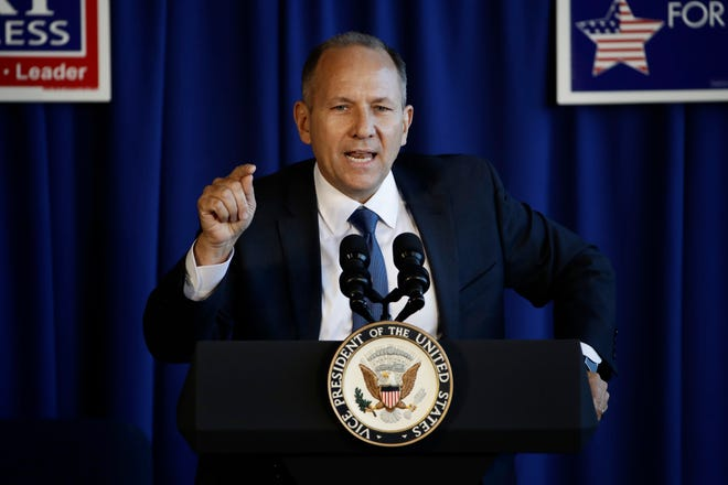 Rep. Lloyd Smucker, R-Lancaster County, speaks during a campaign event in Lititz on Oct. 24. Vice President Mike Pence joined to try to boost Republican House candidates in Pennsylvania, where GOP losses are expected.