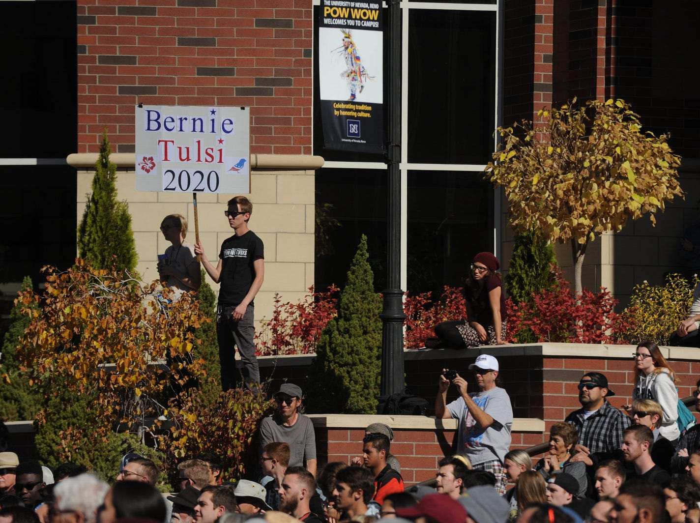 Senator Bernie Sanders campaigns for Nevada Democrats on the University of Nevada, Reno campus on Oct. 25, 2018.