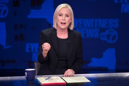 Sen. Kirsten Gillibrand, D-N.Y., speaks during the New York State Senate debate hosted by WABC-TV, Thursday, Oct. 25, 2018 in New York. Gillibrand and Republican challenger Chele Farley have sparred in a televised debate over immigration, health care and whether the incumbent Democrat plans to run for her party's presidential nomination in two years. (AP Photo/Mary Altaffer, Pool)