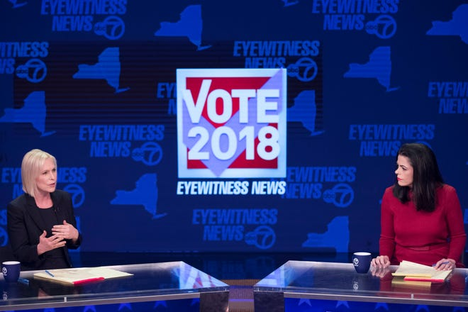 Sen. Kirsten Gillibrand, D-N.Y., left, and Republican candidate Chele Farley spar during the New York State Senate debate hosted by WABC-TV, Thursday, Oct. 25, 2018 in New York.