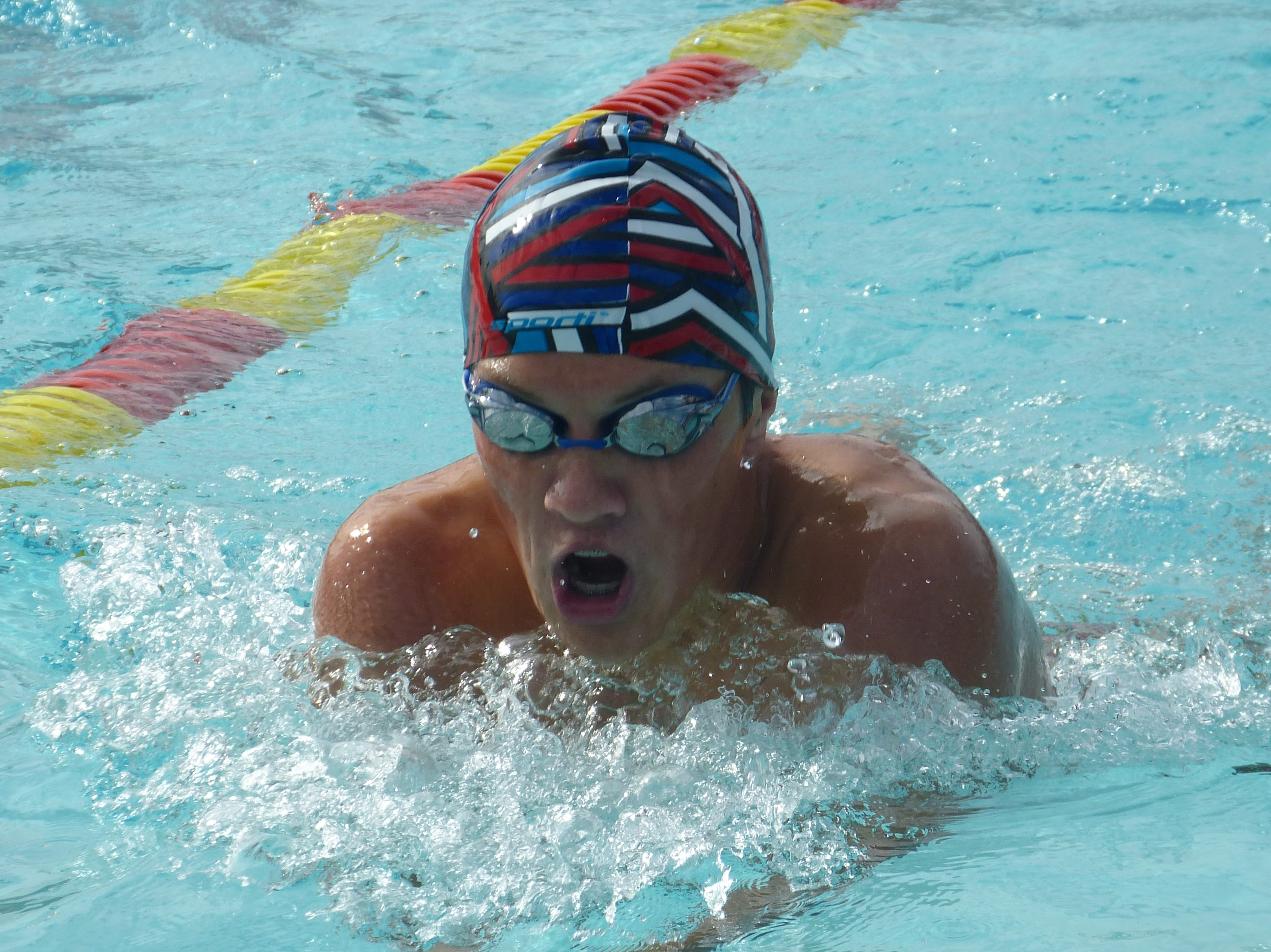Maddox Schweitzer of Durham swims in the 200-yard individual medley Wednesday at the NSCIF trials for Division 2 schools at West Valley High School on Oct. 24, 2018.
