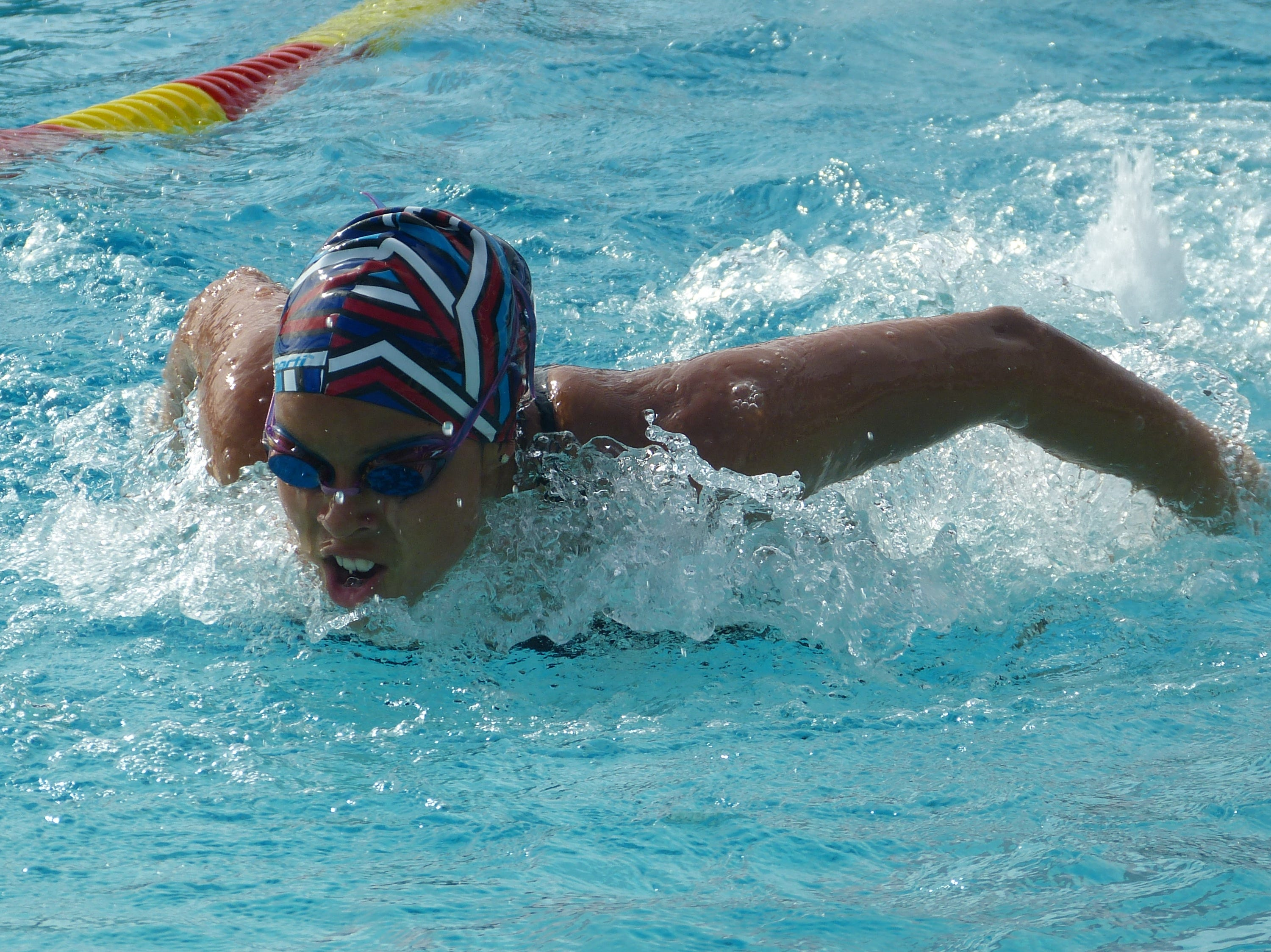 Celina Allen of Durham competes in the 100-yard butterfly Wednesday at the NSCIF trials for Division 2 schools at West Valley High School on Oct. 24, 2018.