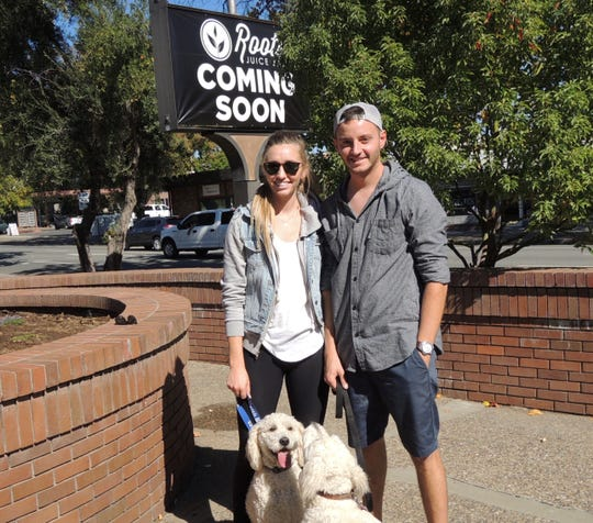 Roots Juice Bar owners Mariiah Zoll and Ricky Rothman at their future Pine Street location.
