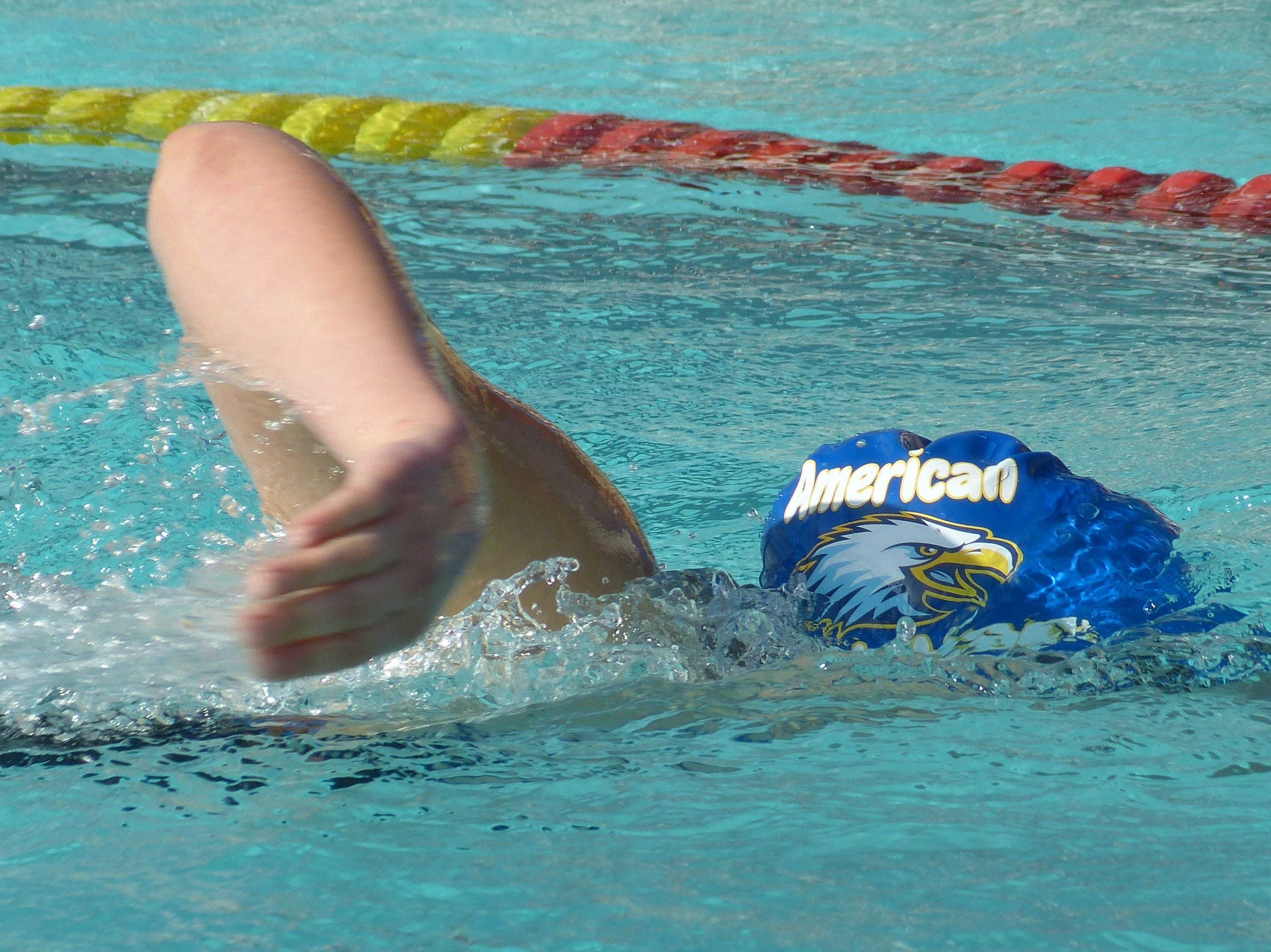 Madison Gama of American Christian competes in the 500-yard freestyle Wednesday at the NSCIF trials for Division 2 schools at West Valley High School on Oct. 24, 2018.