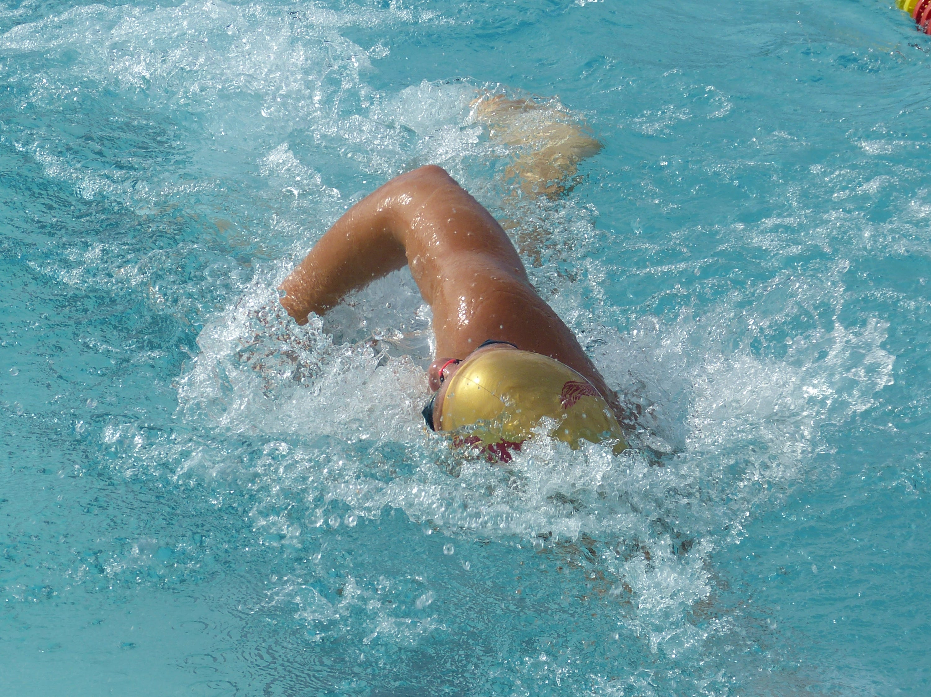 Anthony Rogers of West Valley races in the 100-yard freestyle Wednesday at the NSCIF trials for Division 2 schools at West Valley High School on Oct. 24, 2018.