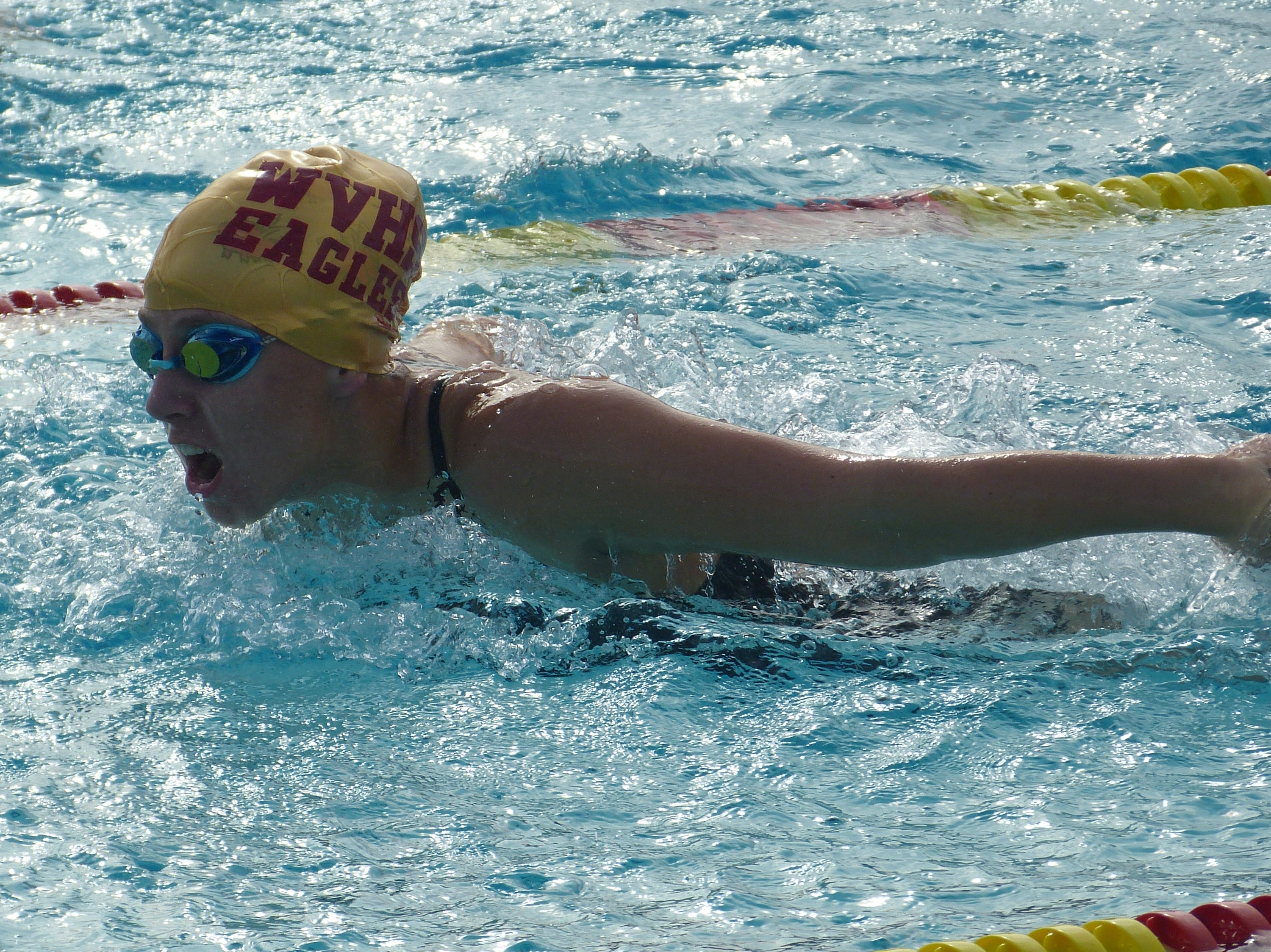 Bethany Chambers of West Valley swims in the 100-yard butterfly Wednesday at the NSCIF trials for Division 2 schools at West Valley High School on Oct. 24, 2018.