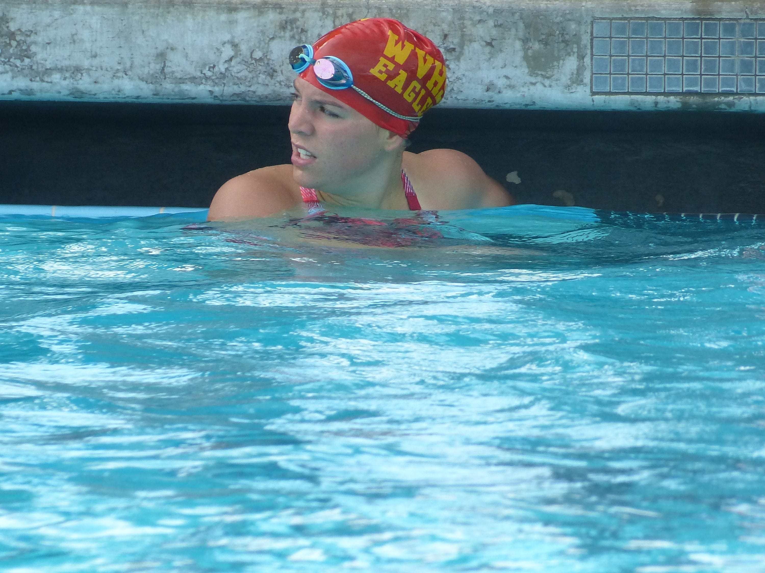 Leiya Ohaver of West Valley waits for results after competing in the 100-yard freestyle Wednesday at the NSCIF trials for Division 2 schools at West Valley High School on Oct. 24, 2018.