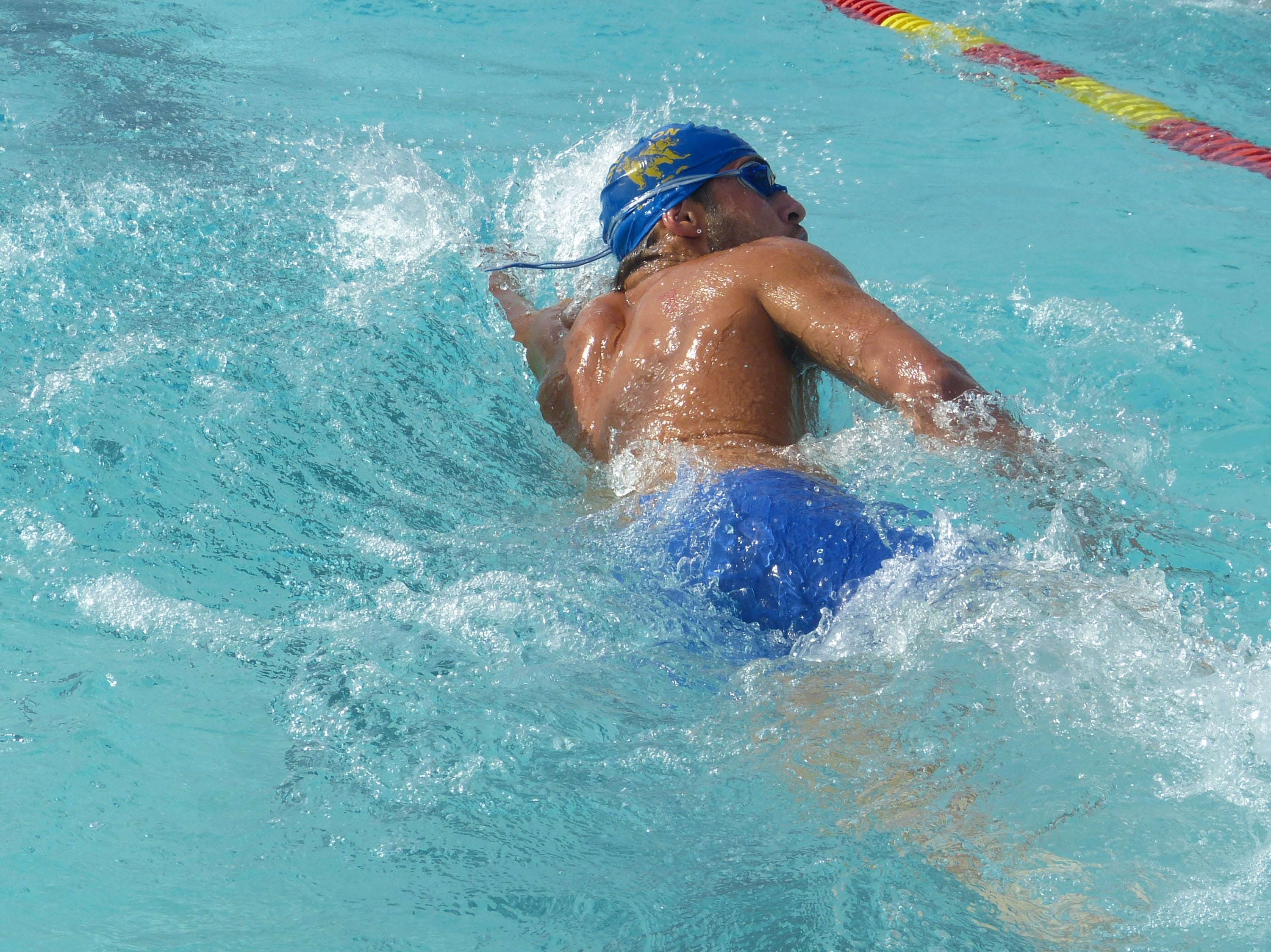 Stevyn Fletcher of Anderson races in the 100-yard freestyle Wednesday at the NSCIF trials for Division 2 schools at West Valley High School on Oct. 24, 2018.
