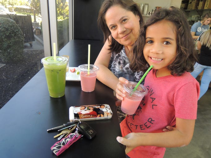 Tammy Von Horn and daughter Abbey at Roots Juice Bar in east Redding.
