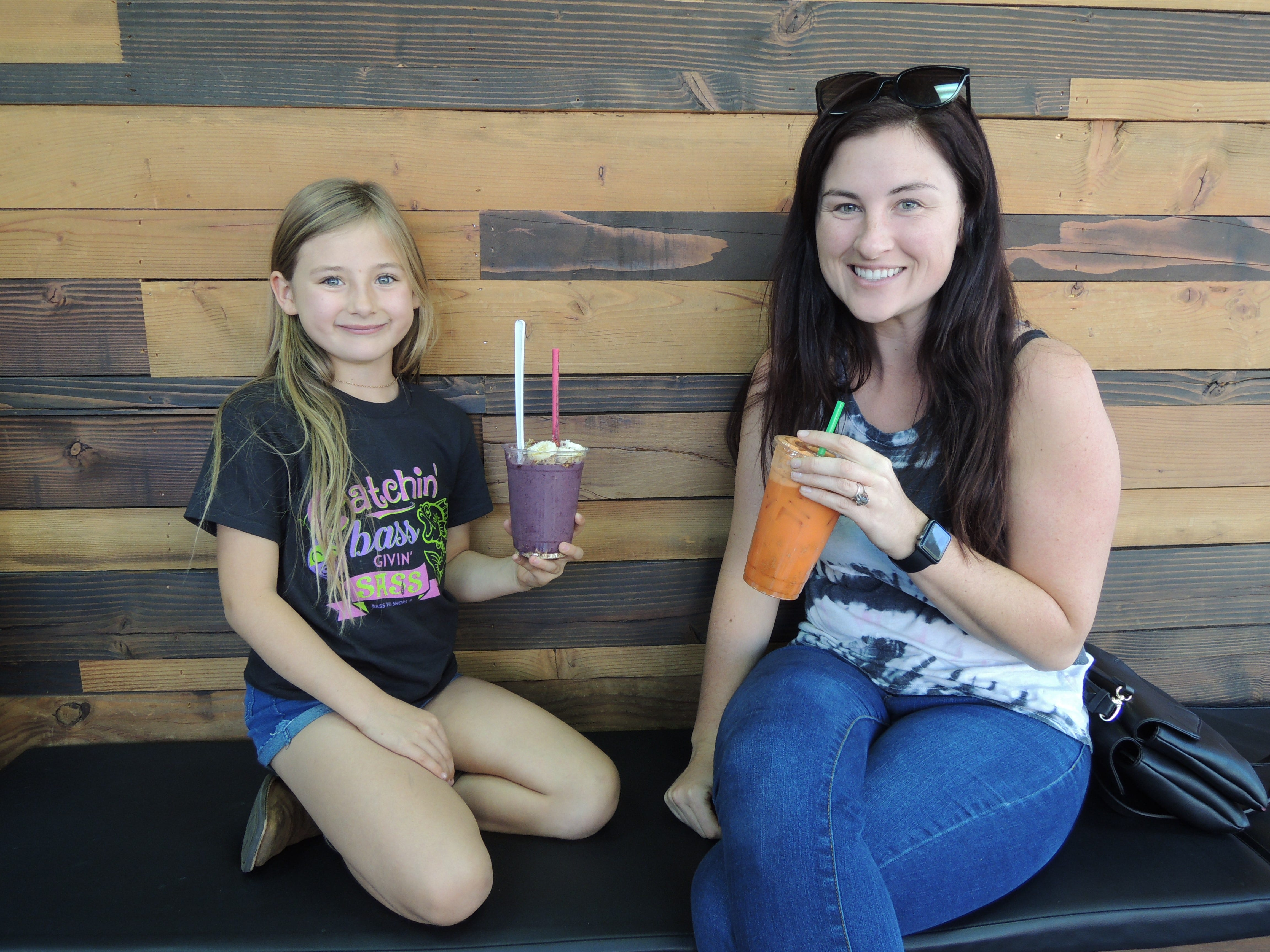 Jordan Butler and her daughter Breya at Roots Juice Bar in Redding.