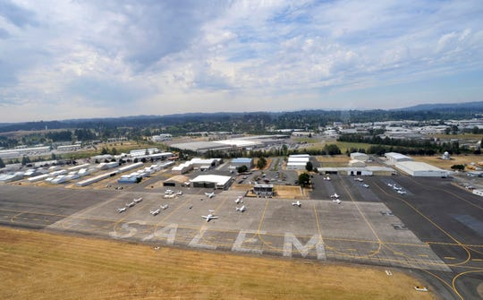 An arial view of the Salem airport during a flight on the Farmers Airship Tuesday, Aug. 17, 2010.